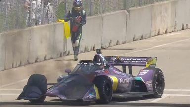 Grosjean fights own fire in IndyCar race