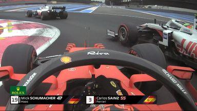 Sainz and Schumacher almost crash!