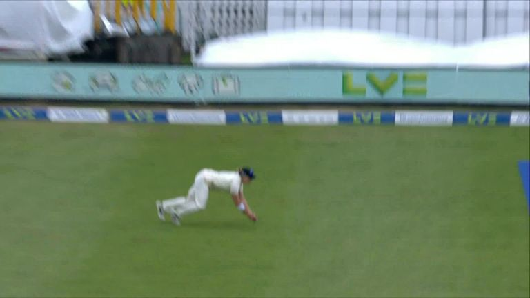 Katherine Brunt produces a spectacular catch at long-on to send India's Shafali Verma walking on 63.