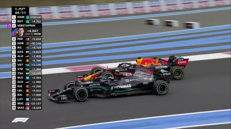 Max Verstappen climbed to second after overtaking Valtteri Bottas, giving him late hope of catching Lewis Hamilton for the race win in France.