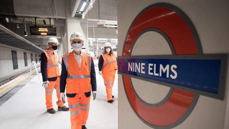 Mayor of London, Sadiq Khan visits Nine Elms station on the Northern Line extension to see the ticket hall and platforms as work is completed in south London on the new underground line which is due to open in autumn this year. Picture date: Friday May 21, 2021.