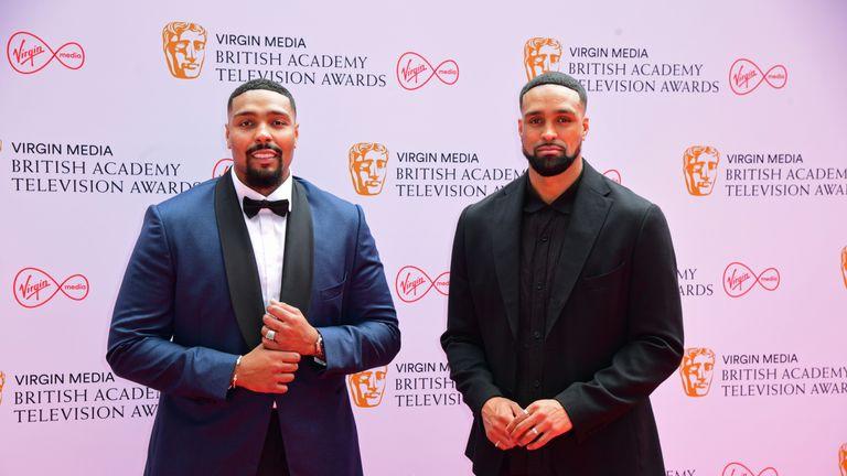 Jordan (left) and Ashley Banjo arrive for the Virgin Media BAFTA TV awards at the TV Centre, Wood Lane, London. Picture date: Sunday June 6, 2021.