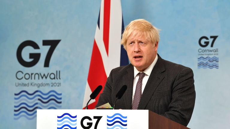 Prime Minister Boris Johnson during a press conference on the final day of the G7 summit in Cornwall. Picture date: Sunday June 13, 2021.