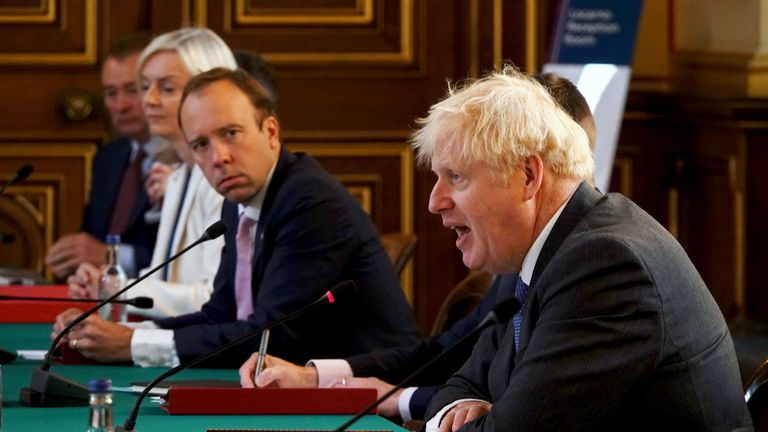 International Trade Secretary Liz Truss and Health Secretary Matt Hancock listens to Prime Minister Boris Johnson (right) during a Cabinet meeting at the Foreign and Commonwealth Office (FCO) in London.