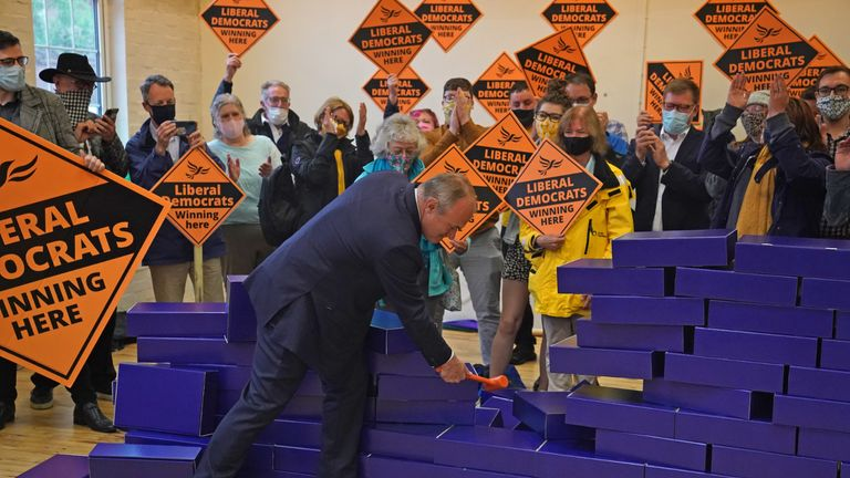 Liberal Democrat leader Ed Davey during a victory rally at Chesham Youth Centre in Chesham, Buckinghamshire, after Sarah Green won the Chesham and Amersham by-election. Picture date: Friday June 18, 2021.