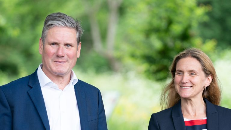 Labour Leader Keir Starmer and Labour candidate Kim Leadbeater during a visit to the Jo Cox Community Wood in Liversedge while on the campaign trail ahead of the Batley and Spen by-election. Kim Leadbeater is the sister of former MP Jo Cox, who was killed in the constituency in 2016. Picture date: Thursday June 10, 2021.