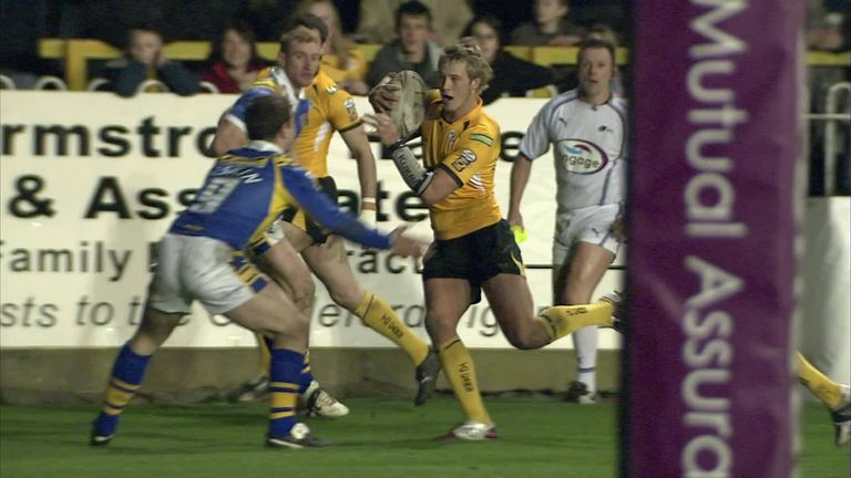 At just 18-years-old, Joe Westerman scores his first try in Super League for Castleford Tigers in 2008.