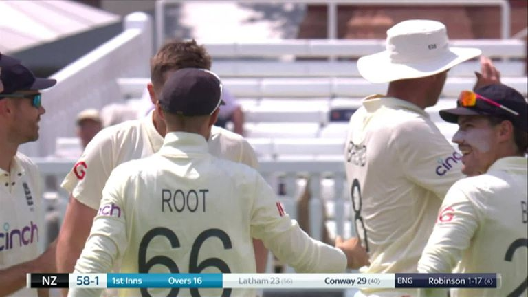 England vs New Zealand: Ollie Robinson takes debut wicket after Black Caps bat