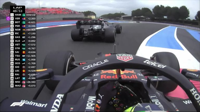 Red Bull's Sergio Perez made the move on Valtteri Bottas in the closing stages for third at Circuit Paul Ricard.