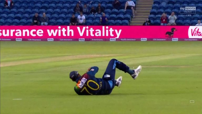 Roy wasn't in the mood for loafing, but he proves his bane as he steps forward and swings Chameera to the middle, where Gunathilaka lunges to his left and takes a two-handed acrobatic catch.
