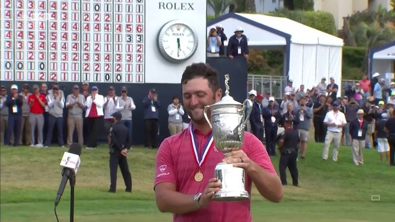 Jon Rahm is presented with the US Open trophy by the USGA and discusses what it means to win his maiden major title at Torrey Pines.