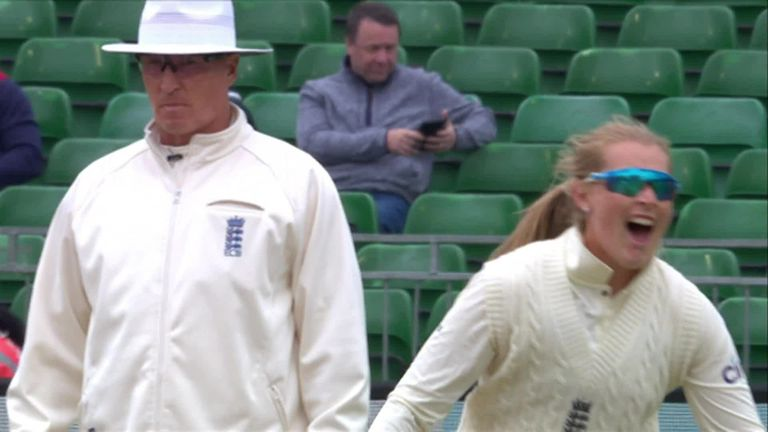 Deepti Sharma hacked wildly at Ecclestone and edged back onto her stumps on the stroke of lunch