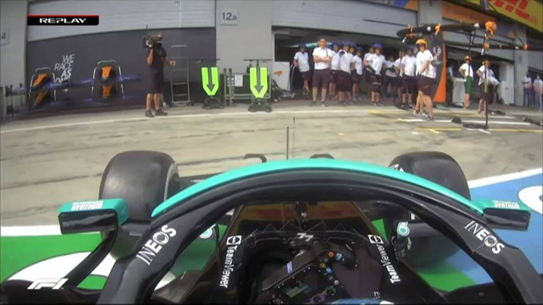 Valtteri Bottas' Mercedes loses grip in the rear causing him to spin in the pit lane.
