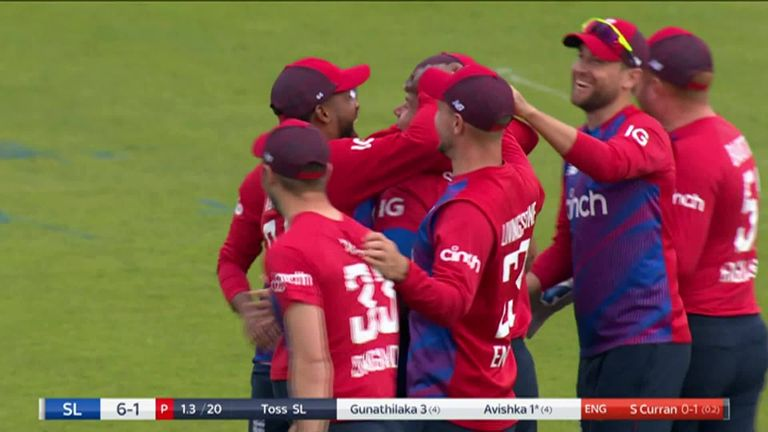 Are you watching Gareth Southgate? Danushka Gunathilaka is run out after some impressive footwork from Sam Curran!