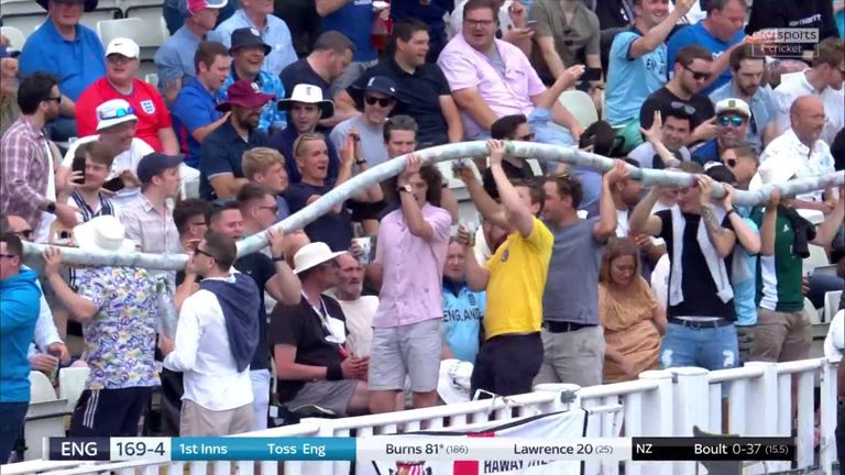 It's fair to say the Edgbaston crowd enjoyed their return to Test cricket, including when this beer snake was formed!