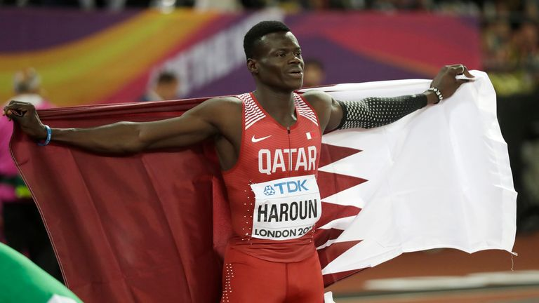 Qatar's Abdalelah Haroun celebrates winning the bronze medal in the men's 400 metres final during the World Athletics Championships in London in 2017. Pic: AP