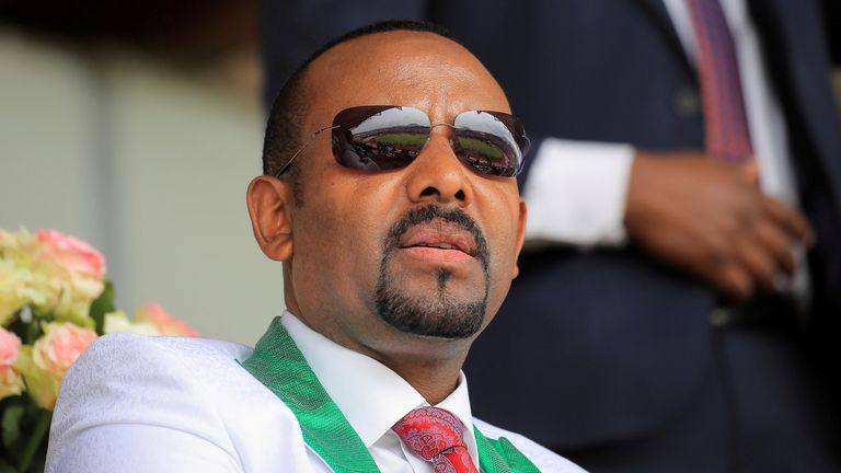 Ethiopian Prime Minister Abiy Ahmed attends his last campaign event ahead of Ethiopia's parliamentary and regional elections scheduled for June 21