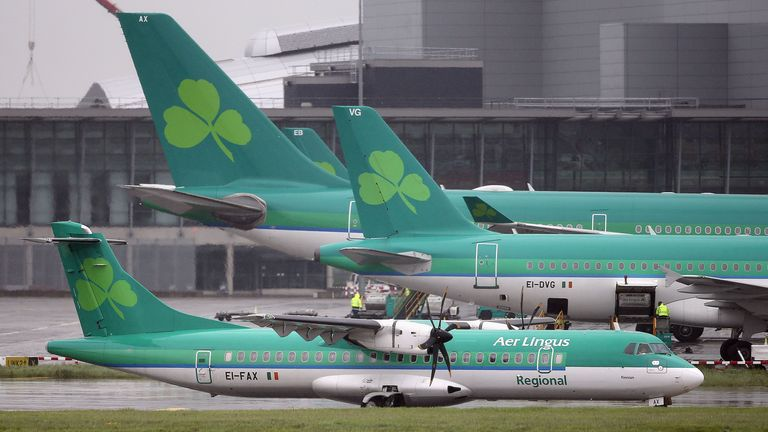 File photo dated 27/05/15 of Aer Lingus jets at Dublin airport. Aer Lingus has announced that a number of regional flights have been cancelled after operator Stobart Air ended its contract with the Irish airline. Issue date: Saturday June 12, 2021.