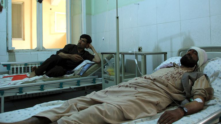 Injured workers of HALO Trust de-mining organisation are treated in a hospital in northern Baghlan province, Afghanistan. Pic: AP