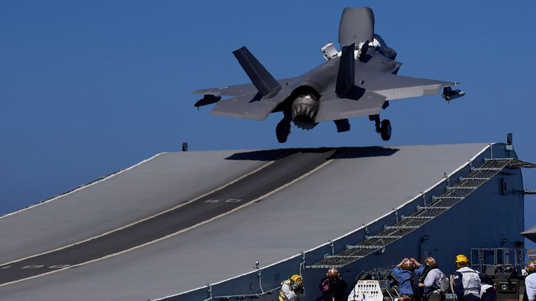 F-35 aircraft takes off from the U.K.'s aircraft carrier HMS Queen Elizabeth in the Mediterranean Sea on Sunday, June 20, 2021. Pic: AP