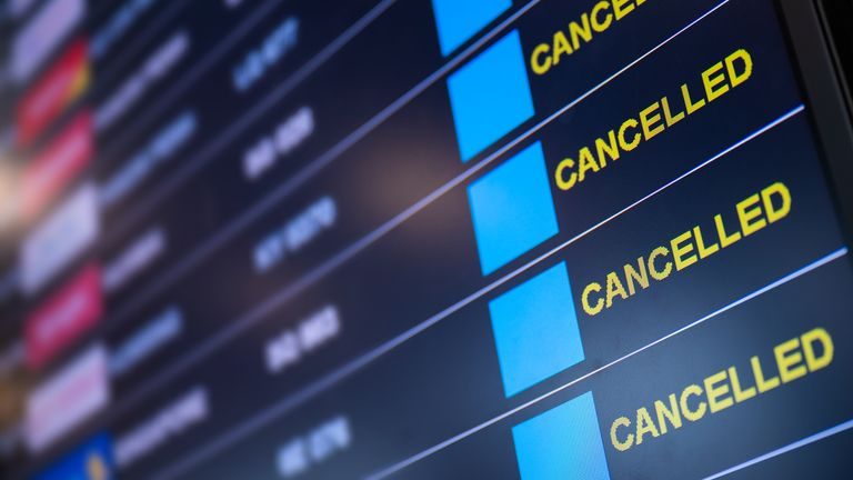 Flights have had to be cancelled due to coronavirus travel restrictions
