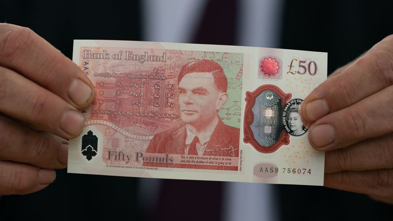 The new £50 note which features wartime hero Alan Turing