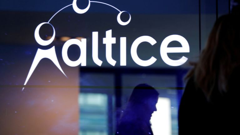The logo of cable and mobile telecoms company Altice Group is seen during a news conference in Paris, France, March 21, 2017