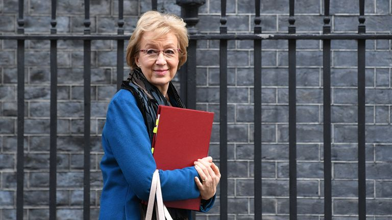Business Secretary Andrea Leadsom leaves Downing Street, London, after a National Security Council meeting. Pic: PA