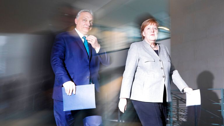 Mr Orban with German Chancellor Angela Merkel in Berlin in 2020.