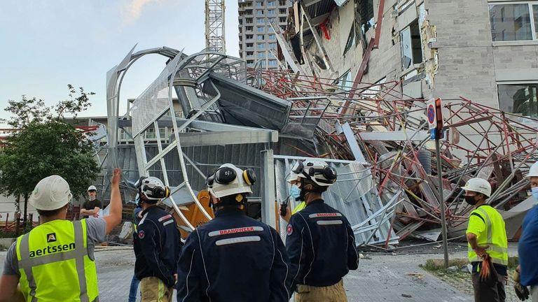 Five people died after a school building site collapsed in Antwerp. Pic: Antwerp fire department