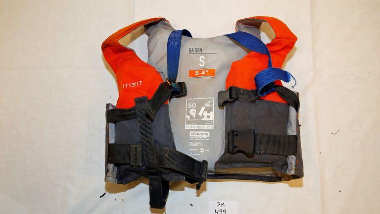 Artin Iran-Nejad's life jacket. Pic: Norwegian Police
