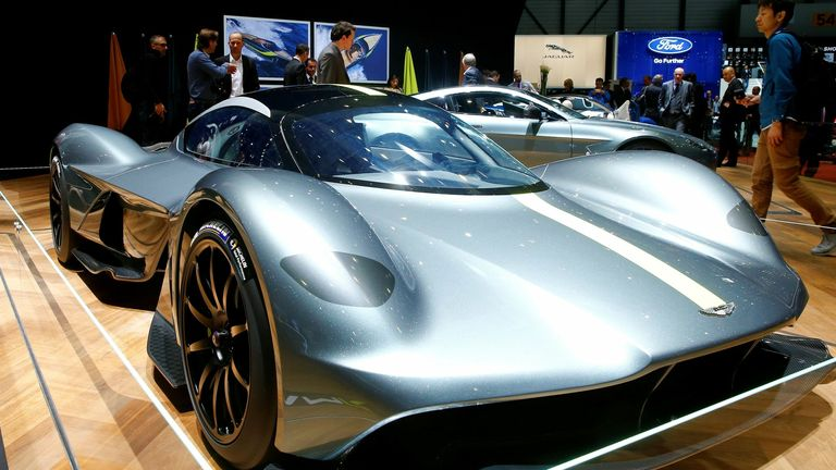 An Aston Martin Valkyrie car is seen during the 87th International Motor Show at Palexpo in Geneva, Switzerland March 8, 2017.