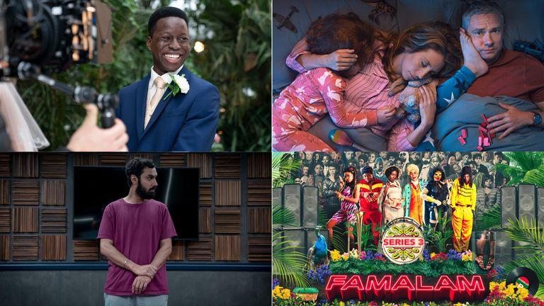 Clockwise from top left: Anthony, Breeders, Famalam, Criminal: UK. Pic: BBC/ Sky UK/ Netflix