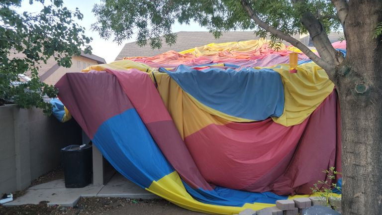 The tarpaulin of a balloon which crashed in New Mexico, killing 5