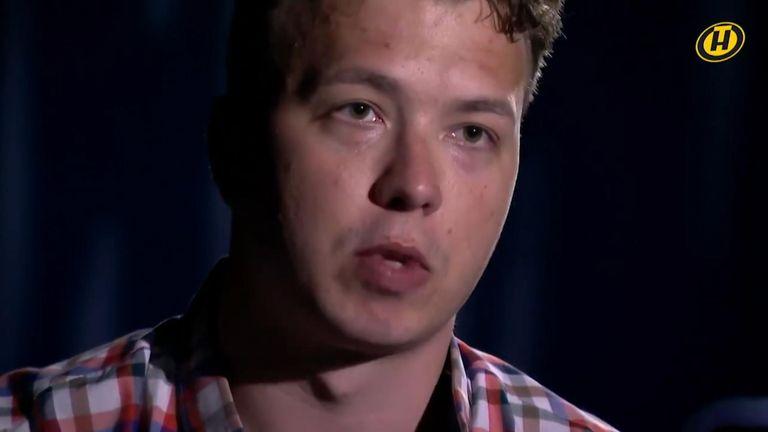 Roman Protasevich on Belarusian TV