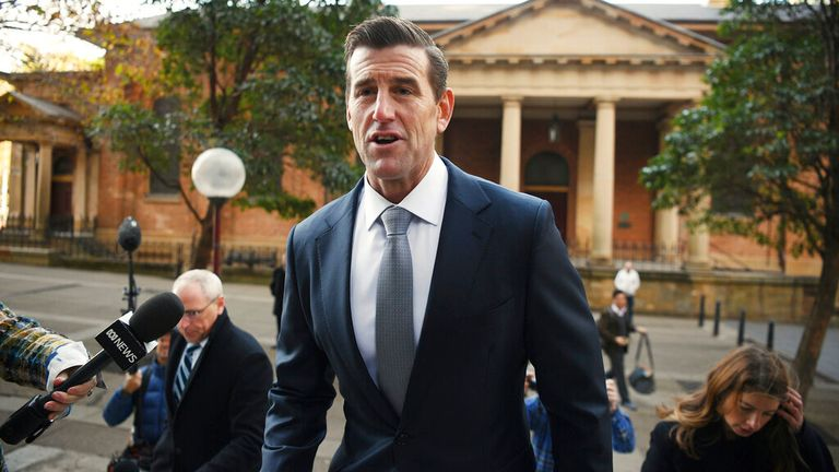 Ben Roberts-Smith arrives in court in Sydney. Pic: AP