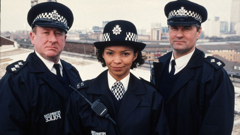 (From left) Ben Roberts as Chief Inspector Conway, Jane Wall as PC Worrell and Colin Tarrant as Inspector Monroe