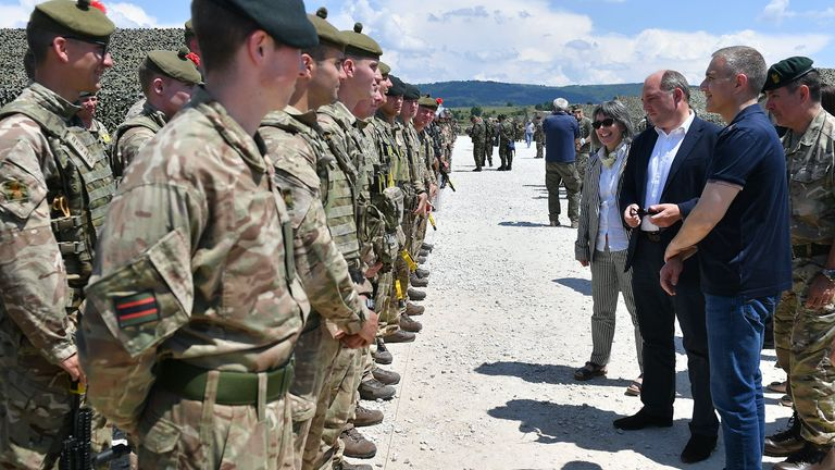 Ben Wallace met a UK company taking part in a military exercise named Exercise Platinum Wolf. Pic: MOD