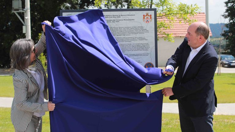 Mr Wallace unveiled a memorial to the rescue of thousands of Allied airmen, wounded partisans and civilians from Nazi-occupied Yugoslavia during the Second World War
