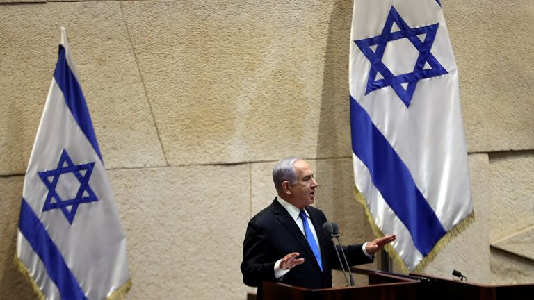 A special session of the Knesset, Israel's parliament, to approve and swear-in a new coalition government, in Jerusalem