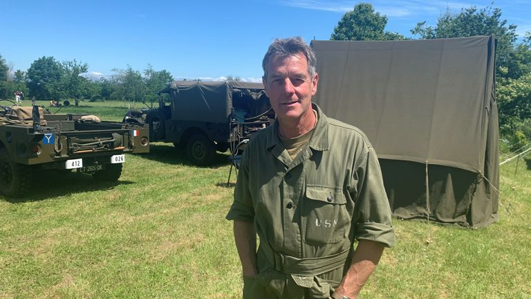 """Bernard Faucon came to """"relive history"""" at a Battle of Normandy re-enactment."""