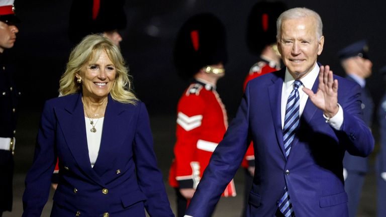 US President Joe Biden and First Lady Jill Biden arrive on Air Force One at Cornwall Airport Newquay, near Newquay ahead of the G7 summit in Cornwall. Picture date: Wednesday June 9, 2021. PA Photo. See PA story POLITICS G7. Photo credit should read: Phil Noble/PA Wire