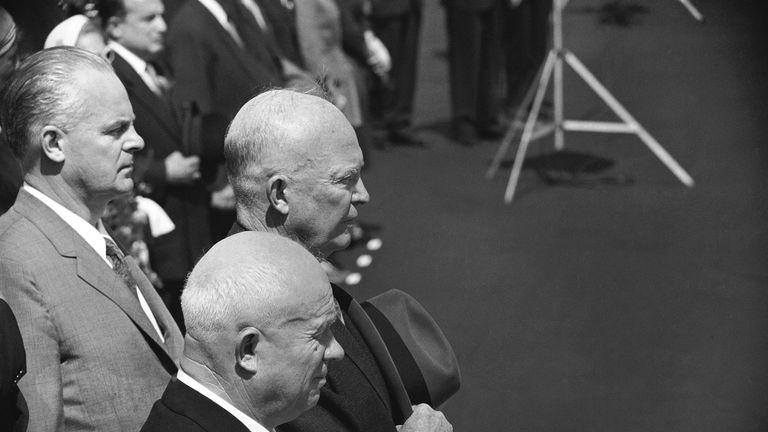 Former US President Dwight Eisenhower and Soviet Premier Nikita Khrushchev in 1959. Pic AP