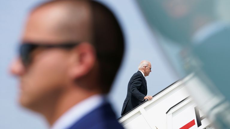 US President Joe Biden boards Air Force One en route to Geneva, at Brussels Airport, Belgium