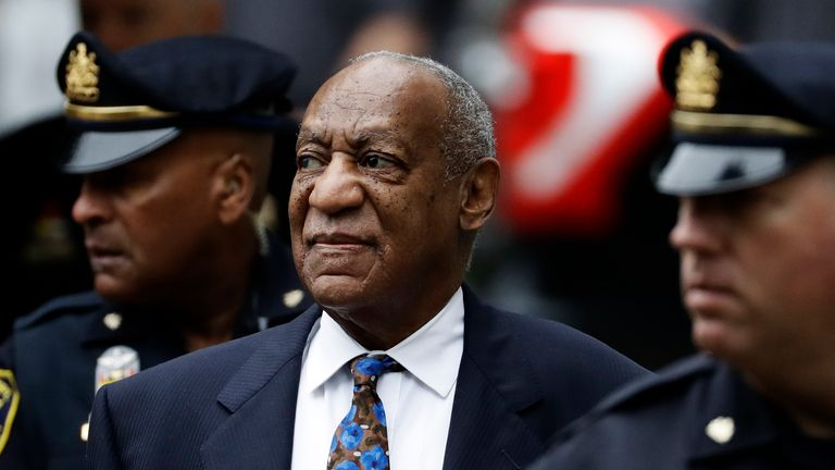 Bill Cosby arrives for his sentencing hearing in 2018. Pic: AP
