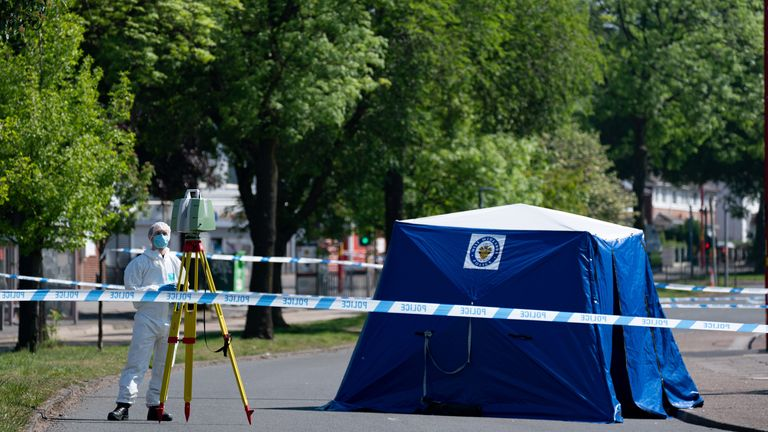 Forensic officers have been at the scene a day after the stabbing