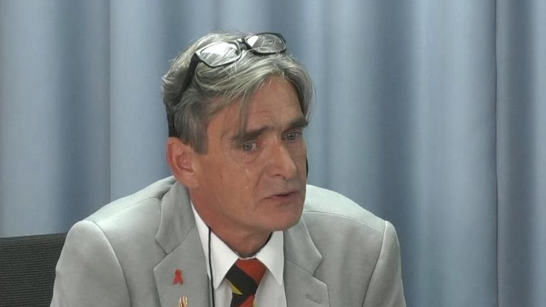 Gary Webster at the infected blood scandal inquiry.