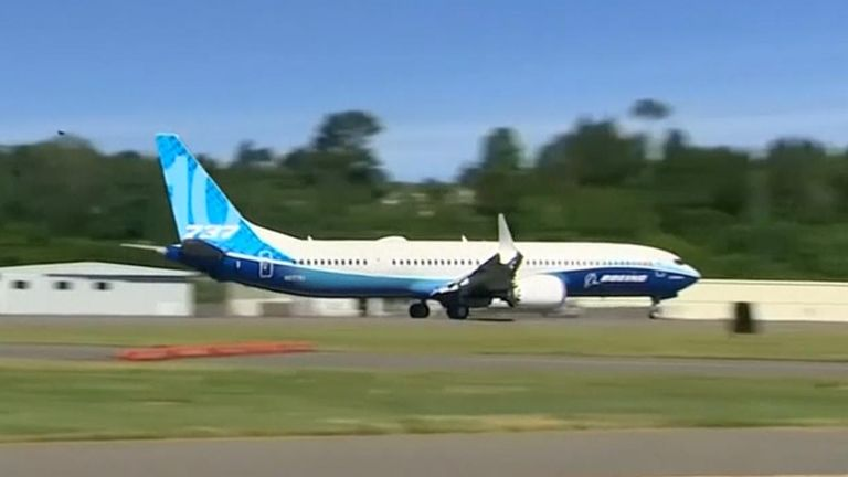 Boeing's newest version of the 737 Max jetliner made its first test flight Friday, taking off near Seattle for an expected two-hour trip that the company hopes will signal improving fortunes for its most important plane.
