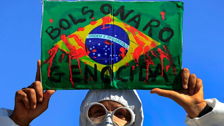 A demonstrator during a recent anti-government protest in Brasilia. Pic: AP