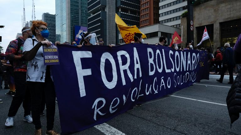 'Fora Bolsonaro', meaning 'Bolsonaro Out', has been a common message on the streets of Sao Paulo